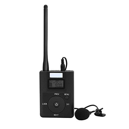 Transmisor FM inalámbrico portátil de baja potencia Adaptador de transmisión de radio estéreo con conector de 3,5 mm, pantalla LCD, adecuado para viajes, sala de conferencias, audio inalámbrico para e