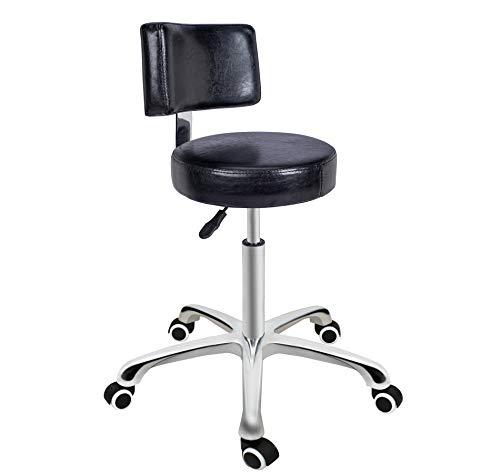 Taburete giratorio de altura ajustable con asiento redondo, taburete con ruedas para salón, masajes, fábrica, tienda (con respaldo, negro)