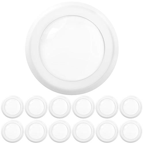 Sunco Lighting 12 Pack 5 Inch / 6 Inch Flush Mount Disk LED Downlight, 15W=100W, 5000K Daylight, 1050LM, Dimmable, Hardwire 4/6' Junction Box, Recessed Retrofit Ceiling Fixture