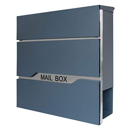 LARS360 Briefkasten Anthrazit Postkasten Mailbox Zeitung Wandbriefkasten Edelstahl Pulverbeschichtet Post Briefkastenanlage Letterbox Mit 2 Schlüssel Zeitungsrolle Neu Design (Wandbriefkästen A)