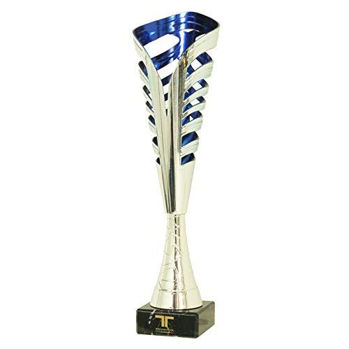 Tecnocoppe - Copa de ABS plateado y azul, altura 34 cm, con base de mármol negro. Placa personalizada de regalo con premios modernos y económicos, deportivos, trofeos