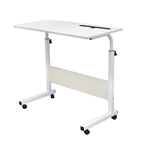 SogesHome 80 x 40 cm Mobile Lap Table With Card slot Computer desk Stand desk Height adjustable table Side table for Bed Sofa Hospital Nursing Reading Eating, White Maple, 05#3-80MP-SH