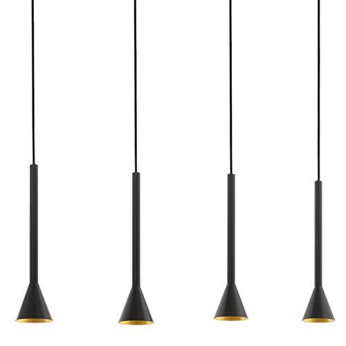 EGLO Pendelleuchte Cortaderas, 4 flammige Hängelampe Vintage, Industrial, Hängeleuchte aus Stahl in schwarz, gold, Esstischlampe, Wohnzimmerlampe hängend mit GU10 Fassung