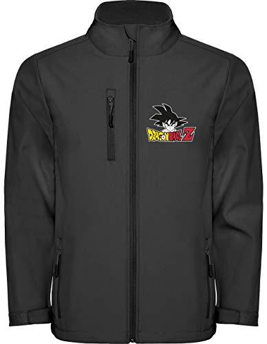Camisetas EGB Chaqueta Softshell Dragón Ball ochenteras 80´s Retro (Negro, 3XL)