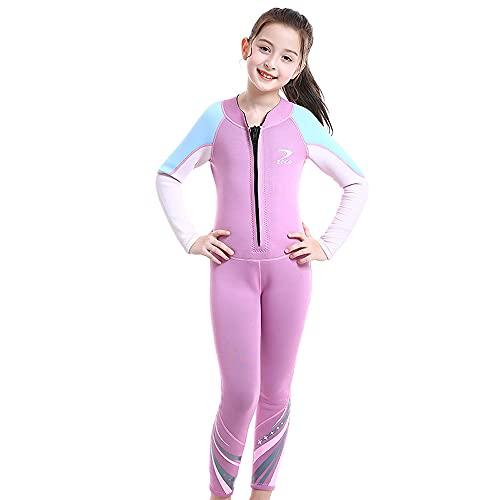Prasacco Traje de neopreno para niños, traje de baño térmico de neopreno de 2,5 mm, traje de baño juvenil para niños y niñas, traje de calentamiento con mangas largas para buceo, natación, surf