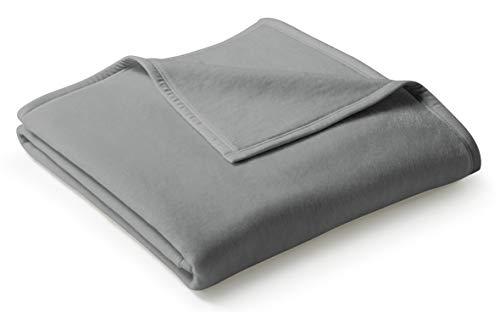 biederlack® flauschig-weiche Kuschel-Decke aus Baumwolle & dralon® I Made in Germany I Öko-Tex Made in Green I nachhaltig produziert I einfarbige Wohn-Decke Cotton Uni - Graphit in 150x200 cm