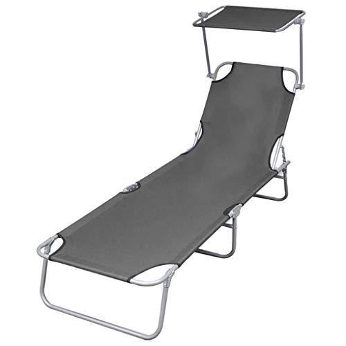 vidaXL Chaise Longue Pliable avec Auvent Acier Transat de Jardin Camping