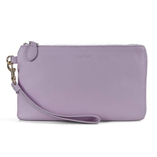 Befen Women Genuine Leather Clutch Wallet, Smartphone Wristlet Purse - Fit iPhone 8 Plus (Lavender)