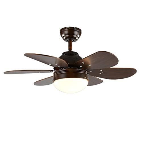 LOVELY-Fan lights Ventilador Luces Restaurante Ventilador Araña Retro Pequeña Sala de Estar Dormitorio Simple Control Remoto en casa Silenciador Luz Ventilador (tamaño : 30 Inches)