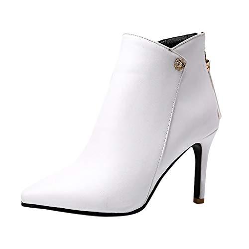 Yowablo Stiefel Schuhe Frauen Mode Reine Farbe Spitzzehen Reißverschluss Dünne Absätze Lässig (42,Weiß)