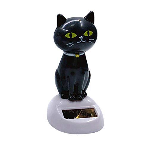 Nedyet Figura decorativa de gato solar con forma de cabeza de gato