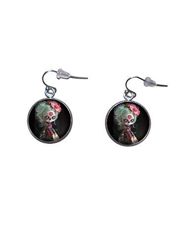 Edelstahl hängende Ohrringe, Durchmesser 20mm, handgemacht, Illustration Mexikanische Schädel Puppe