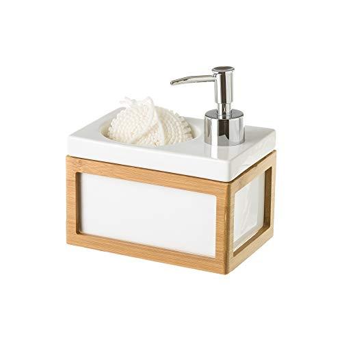 Dispensador con estropajo blanco nórdico bambú de cerámica de 15x10x9 cm - LOLAhome