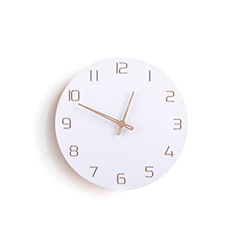 LQHZ Reloj de Pared/Reloj Reloj de Pared Grande de Madera 3D Decoración para el hogar Dormitorio Silent Oclock Mano de Obra Exquisita y práctica. (Color : White)