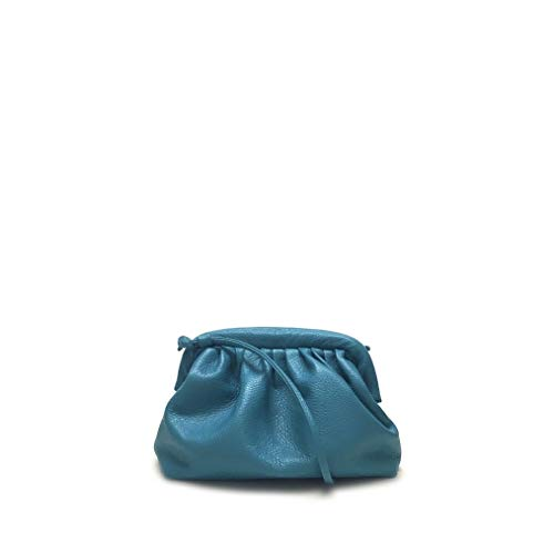 Shoe gar Borsetta clutch arricciata color ottanio con tracolla vera pelle made in italy