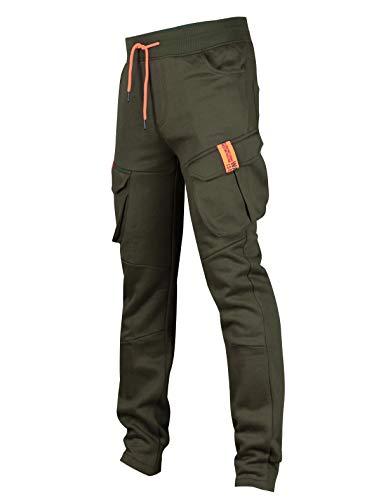 SCREENSHOT SPORTS-P11960 Mens Premium Hip Hop Cargo Pockets Fleece Pants - Slim Athletic Jogger Fitness Workout Utility Sweatpants-Olive-2XLarge