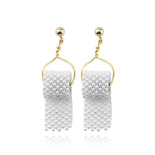 Toilet Paper Earrings for Women Girls,Pearl Beaded Toilet Paper Earrings Sterling Silver (A:pearl)