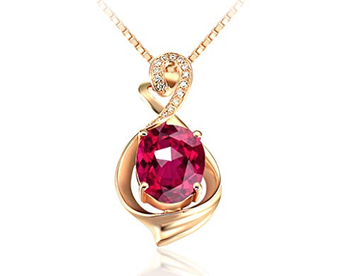 Aartoil Mujer oro rosa de 18 quilates ovalada Red Tourmaline