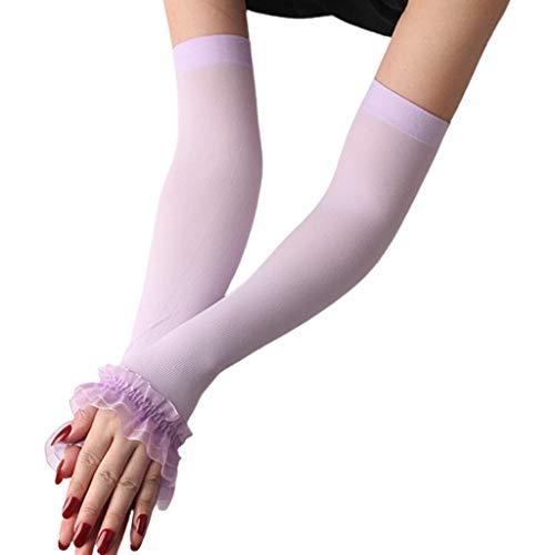 ZZALLL Frauen UV-Schutz Fingerlose Handschuhe Rüschen Mesh Patchwork Armwärmer Ärmel - Lila