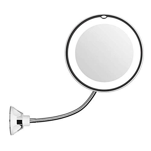 Relaxbx 5x Vergrootglas Make-Up Spiegel, Make-Up Spiegel Zwanenhals Led Licht Flexibele vergrendeling Zuignap Muur Spiegel Voor Scheren 360 graden Draaibaar