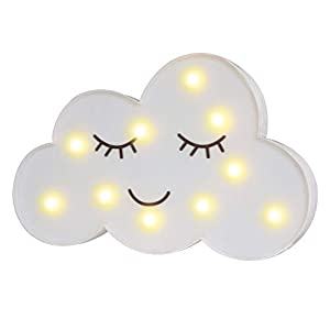 LED Painted Cloud Night Light, Marquee Cloud Signs, Battery Operated Warm Lighting Home Decor for Kids, Baby, Nursery, Living Room Dorm (Shy Cloud)