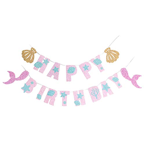 PRETYZOOM - Guirnalda colgante con forma de sirena, diseño de letra de lentejuelas bajo el mar, para bebé, niña, niño o niña, sirena, temática fiesta, decoración de fondo de pared