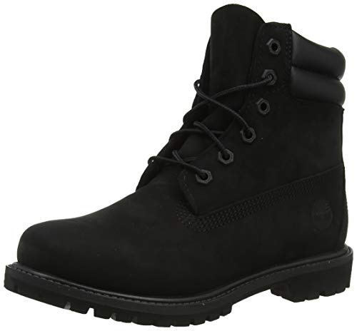 Timberland Waterville 6 inch Double Collar Waterproof, Stivali Stringati Donna, Nero Black Nubuck, 37 EU