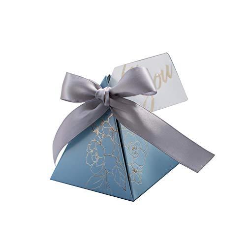Bolsa de regalo triangular de Pyramid Candy Box para bodas y regalos, cajas de caramelos para invitados, decoración de bodas, baby shower, fiestas, paquetes de 20 unidades