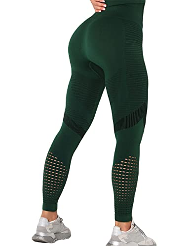 Yutdeng Leggings Sin Costuras Corte de Malla Mujer Push Up Pantalon Deportivo Alta Cintura Yoga Elásticos Fitness Seamless Mallas de Deporte de Mujeres Leggins Pantalon Deporte Yoga