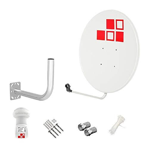 Diesl.com - Kit Antenas parabólicas de televisión satélite Digital - 80cm Blanca sin Logo + LNB Single 4K + Soporte + Tacos a Pared + Conectores + 10x Bridas