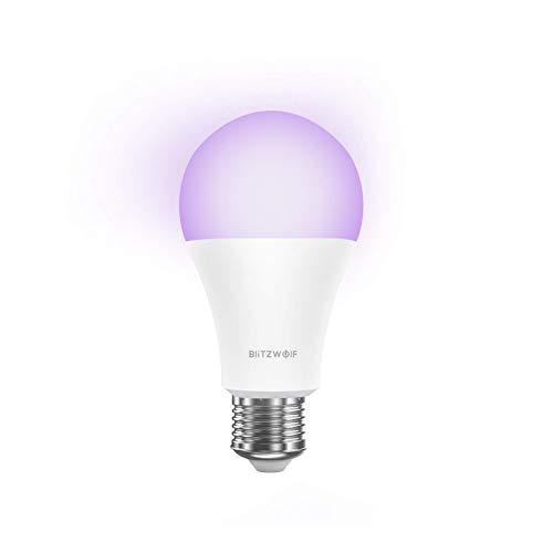 Bombilla LED Inteligente WiFi, BlitzWolf 900lm Bombilla Inteligente Wifi Funciona con Echo, Google Home e IFTTT, 10W E27 Bombilla LED16 Millones de Colores Regulable(Blanco)
