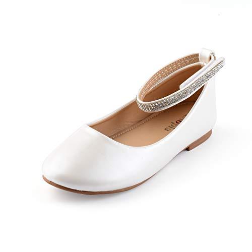 Nova Utopia Toddler Little Girls Dress Ballet Ankle Strap Flat Shoes,NF Utopia Girl NFGF317 White 9