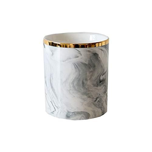 JU FU Nordic Keramik Marmor Aufbewahrungseimer Gold Make-up Pinsel Aufbewahrungsrohr Gold Stifthalter Vase Dekoration