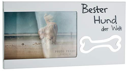 Brandsseller Bilderrahmen Fotorahmen - Bester Hund der Welt - mit Spiegelknochen 25x13x1,2 cm Matt-Weiß