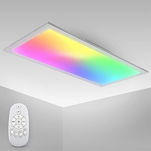 B.K.Licht I Plafonnier LED RGBW I panel 7 couleurs I CCT chaud, neutre & froid I télécommande I plafonnier ultra slim pour bureau I 595x295x42mm