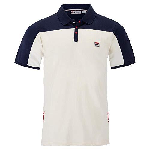 Fila Men's Mivvi Polo Shirt, Navy, Gardenia, Chinese Red, XL