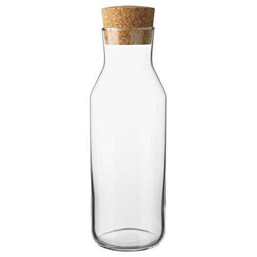 """IKEA 365+ schmale Karaffe mit Korkverschluss Deckel, Glaswasserkanne, Kühlschrankkaraffe, Eisteebereiter 11\"""" tall x 3.5\"""" diameter durchsichtig"""