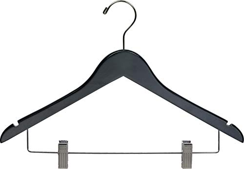 Black Wooden Combo Hangers with Adjustable Cushion Clips Space Saving Flat 17 Inch Hanger with Chrome Swivel Hook Notches Set of 25 by The Great American Hanger Company
