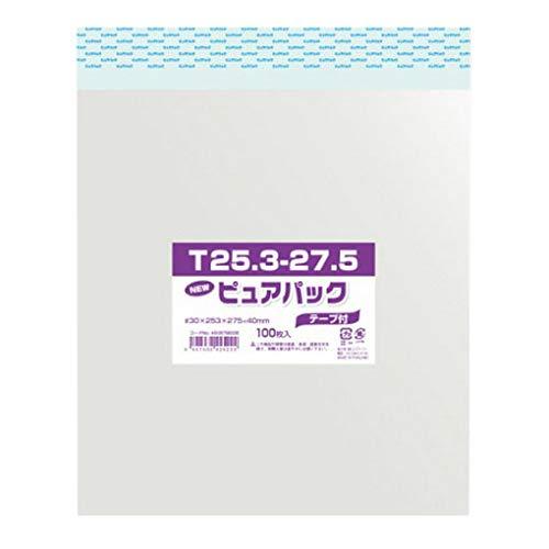 OPP袋 ピュアパック T25.3-27.5 (色紙用) テープ付き 100枚/62-0995-52