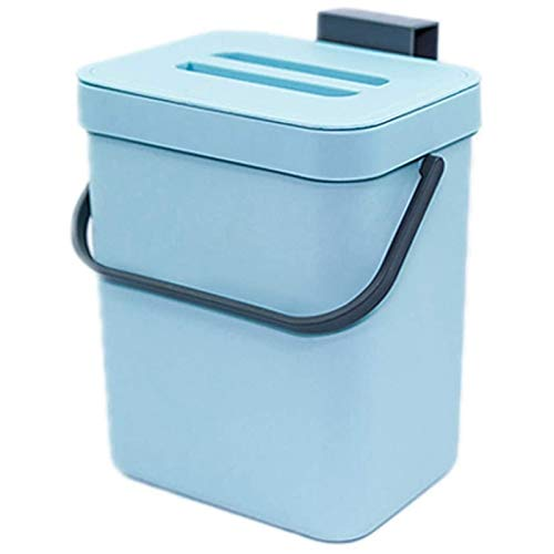 OVBBESS Ndoor Home - Cubo de basura con tapa hermética extraíble, color azul