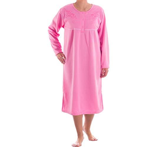 Romesa Thermo Damen Nachthemd Langarm angeraut Herbst Winter, Größe:L, Farbe:Pink