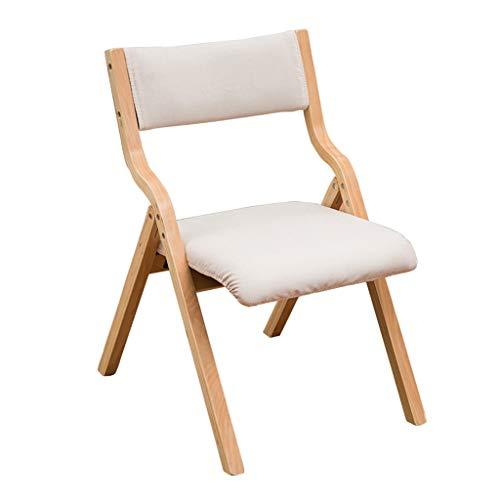 LiRuiPengBJ Sillas Plegables Sillas Plegables de Madera Maciza, Silla del Comedor para Sala de Estudio, Cocina y Sala de Estar Asiento Acolchado Beige Folding Chairs