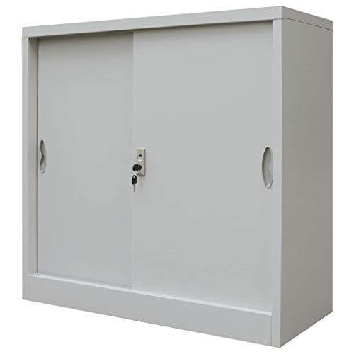 Tidyard Armario archivador de Oficina Armario Oficina con Puertas correderas Metal 90x40x90 cm Gris