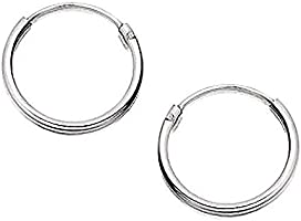 15MM Sterling Silver Round Hoop Earrings for Women Ladies Girls - Solid 925 Sterling Silver - Plain & Simple Polished...