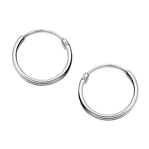 Orecchini a cerchio rotondi, da 15 mm, in argento Sterling 925 massiccio, senza fine, con chiusura a cerniera
