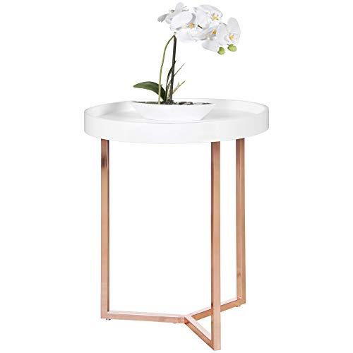 FineBuy Design Beistelltisch GIVE mit Tablett Weiß abnehmbar 40 cm Rund Kupfer   Couchtisch Holz   Wohnzimmertisch als Tabletttisch Modern