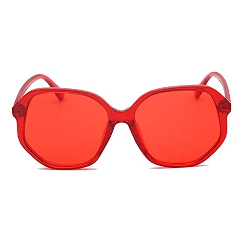 zzz Europa Y Los Estados Unidos De Moda Gafas De Sol Irregulares De Borde Grande Color Exterior Gafas De Conducción UV400 Unisex Protector (Color : Red)