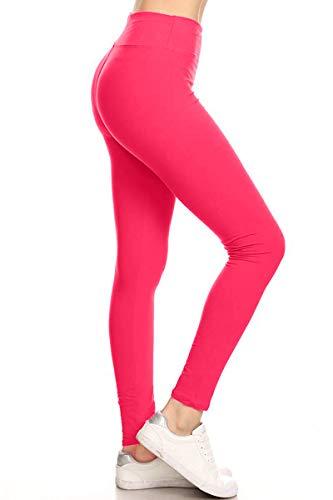 LYX128-FUCHSIA Yoga Solid Leggings, Plus Size