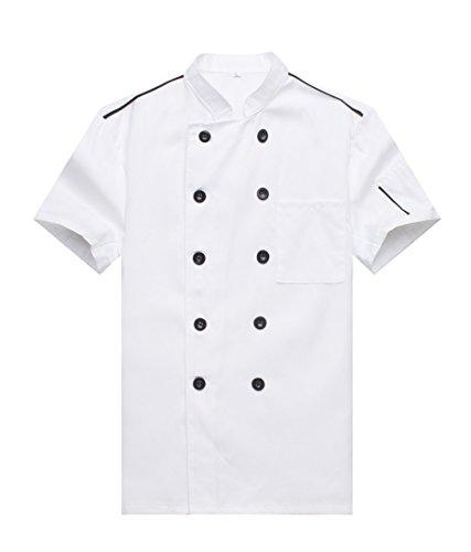 WAIWAIZUI Giacca Casacca da Cuoco Chef Bordature Ristorante Manica Corta (XXL, Bianco)
