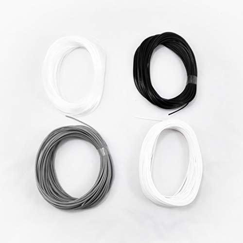 Pack de 4 muestras de filamento flexible y elástico TPU FilaFlex 82A original de Recreus para impresora 3D. 1.75 mm. 200 gr. Sample Pack 1 con 4 colores de 50 gr. Blanco, transparente, gris y negro